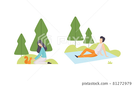 People Resting in Park with Man Sitting on Blanket and Woman Playing with Squirrel Vector Set 81272979