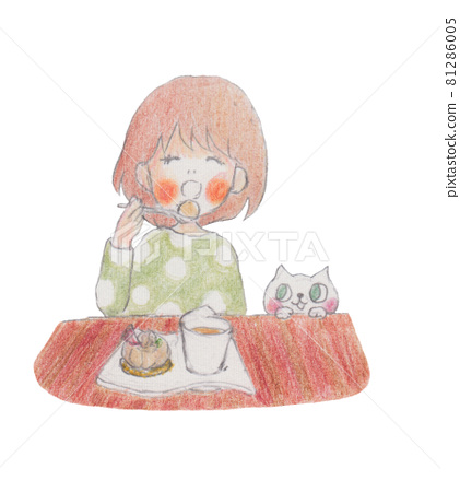 Hand-drawn illustrations, cake-eating girl and white cat 81286005
