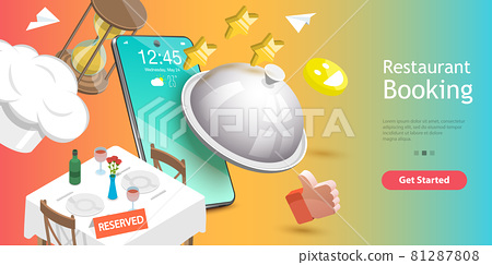 3D Vector Conceptual Illustration of Table Online Reservation, Mobile Booking. 81287808