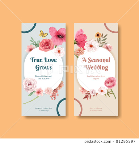 Flyer template with wedding autumn concept,watercolor style 81295597