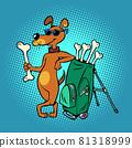 Pets friendly golf club, cute dog character with bone clubs 81318999