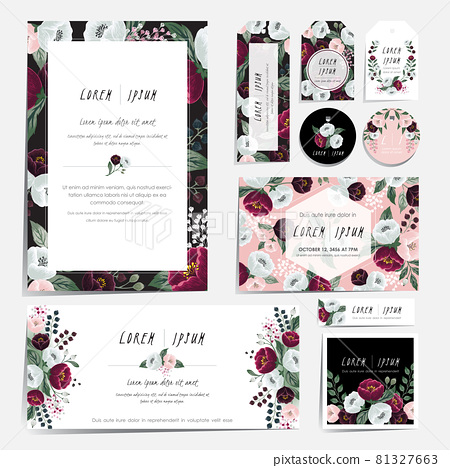 Vector illustration set of hand drawn floral card set for wedding, anniversary, birthday parties. Design for print project for invitation, brochure and scrapbook.  81327663