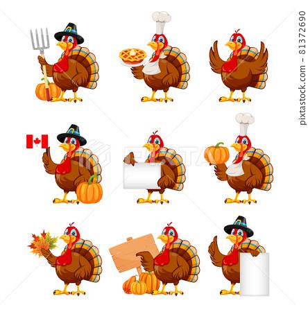 Happy Thanksgiving. Cartoon character turkey bird 81372690