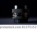 Old lens of single-lens reflex camera black back silhouette style 81375152