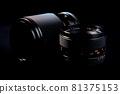 Old lens of single-lens reflex camera black back silhouette style 81375153
