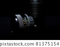 Old lens of single-lens reflex camera black back silhouette style 81375154