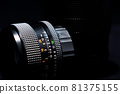 Old lens of single-lens reflex camera black back silhouette style 81375155