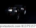 Old lens of single-lens reflex camera black back silhouette style 81375157