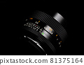 Old lens of single-lens reflex camera black back silhouette style 81375164