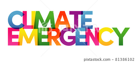 CLIMATE EMERGENCY words vector illustration. Colored rainbow text. Vector banner. Corporate concept. Gradient Text. Transparency Letters 81386102