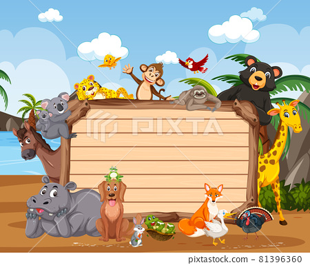 Empty wooden board with various wild animals in the forest 81396360