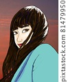 轉身的少女(長發在夕陽的天空和風中飄揚的少女) 81479950
