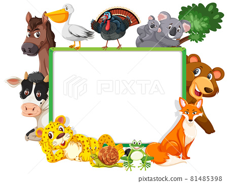 Empty banner with various wild animals 81485398