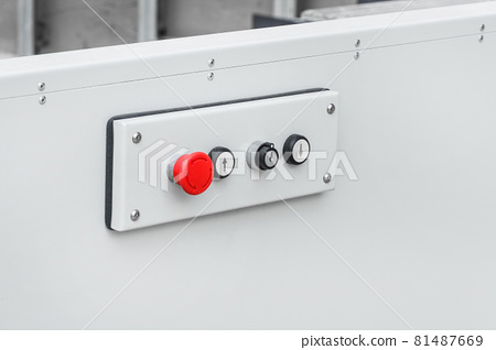Control modern panel of a lifting platform equipment for help and transportation disabled people, close-up 81487669
