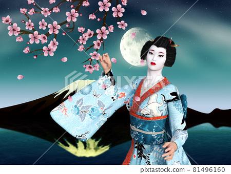 3D Geisha in blue kimono and sakura at night 81496160
