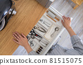 Top view closeup housewife hands tidying up cutlery in drawer general cleaning at kitchen 81515075