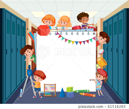 Empty board with student kids doing different activities 81516265