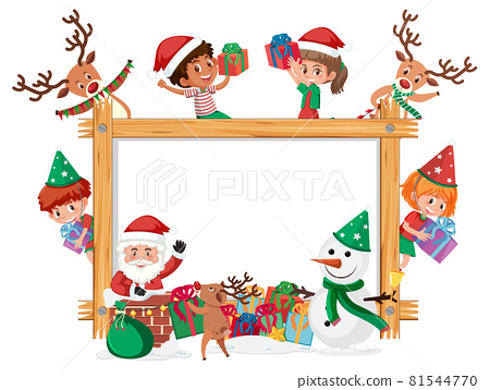 Empty wooden frame with kids in Christmas theme 81544770