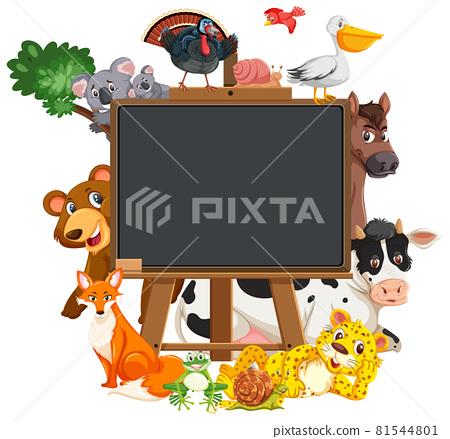 Empty blackboard with various wild animals 81544801