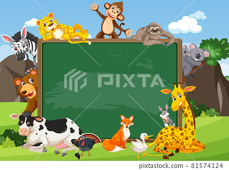 Empty blackboard with various wild animals in the forest 81574124