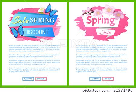 Spring Sale Advertisement Label Branch of Sakura 81581496