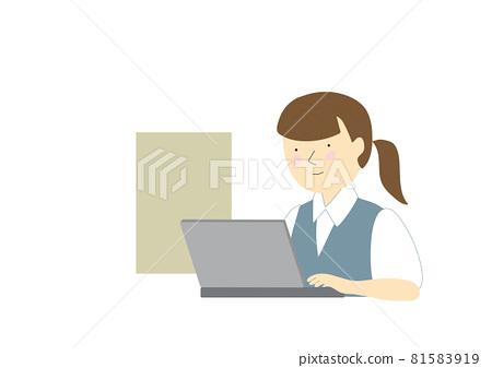 노트북, 비즈니스, 비즈니스우먼 81583919