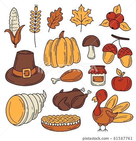 Hand drawn cartoon set of Thanksgiving autumn theme 81587761