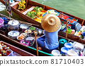 Traditional floating market in Damnoen Saduak near Bangkok. Thailand 81710403