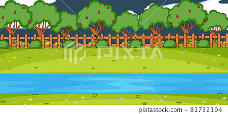 Empty park landscape scene at night with many trees and river 81732104