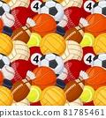 Sport balls seamless pattern, various sports games equipment. Baseball, football, soccer, tennis, hockey cartoon sport elements vector texture 81785461