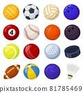 Cartoon sport balls, different sports games equipment. Soccer, volleyball, golf, football, baseball, billiard, cricket, rugby, hockey vector set 81785469