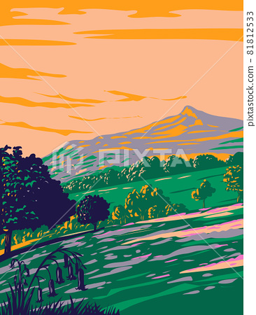 North York Moors National Park with bluebells in woodlands in county of North Yorkshire North Eastern England UK Art Deco WPA Poster Art 81812533