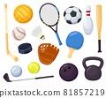 Cartoon sports equipment, different ball games elements. Baseball bat, bowling pin, hockey stick. Sport recreation activity item vector set 81857219