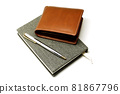 Notebook with pen and brown leather wallet 81867796