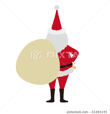 Illustration of Santa Claus Back view of Santa carrying a gift 81894245