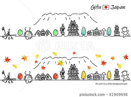 Cityscape simple line drawing set of sightseeing spots in Gifu prefecture in autumn 81909698