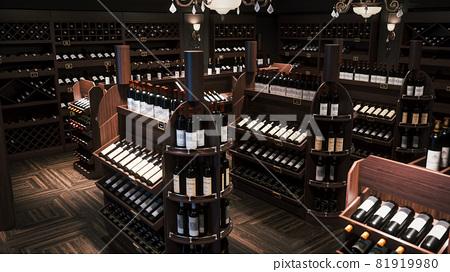 Wine store interior. Wine bottles in the wine store. Shelves with wine bottles. 3d illustration 81919980