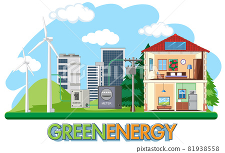 Green energy generated by wind turbine 81938558