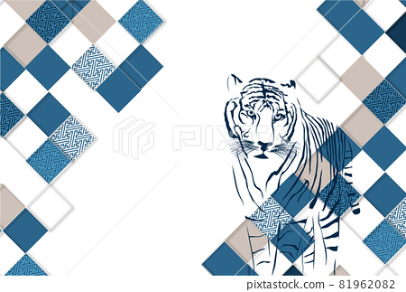 Tiger New Year's card Japanese pattern background 81962082