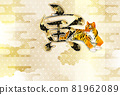 Tiger New Year's card Japanese pattern background 81962089
