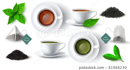 Realistic 3d cup with green and black tea, leaves and pyramid teabag. Cups with hot drink side and top view. Dry herbal tea piles vector set 81988230
