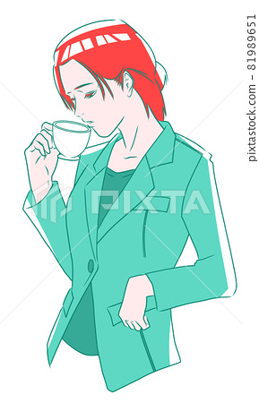 A woman in a suit taking a rest with a glass of drink 81989651