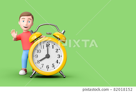 Kid 3D Cartoon Character Leaning on an Alarm Clock on Green with Copy Space 82018152