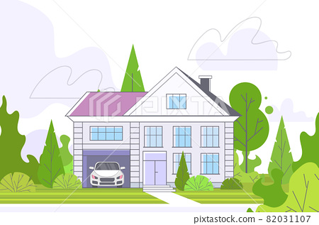 empty no peope street with town house cottage country real estate concept private residential architecture home exterior 82031107