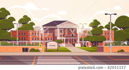 school building empty front yard with green trees road crosswalk summer cityscape background 82031157