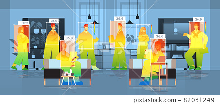 detecting elevated body temperature of businesspeople in office checking by non-contact thermal ai camera stop coronavirus 82031249