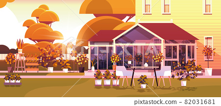 backyard planting greenhouse glass orangery botanical garden with flowers and potted plants 82031681