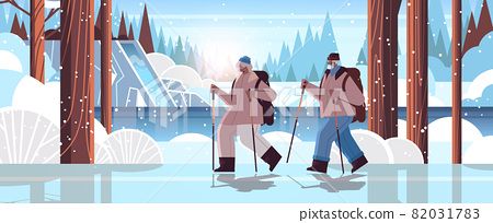 senior african american man woman hikers traveling together with backpacks active old age physical activities 82031783