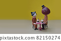 Cat and chestnut tea time clay art 82150274