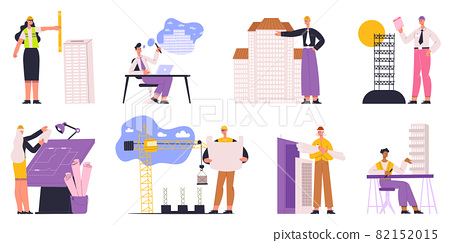 Architects, engineers, builders and construction workers characters. Professional builder, architect, worker engineer vector illustration set. Architectural project workers 82152015
